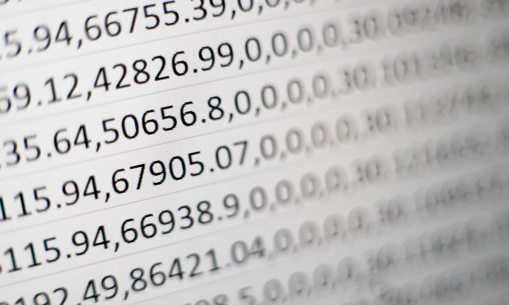 numbers on a screen