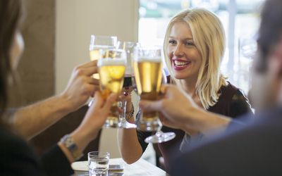 woman and friends drinking beer