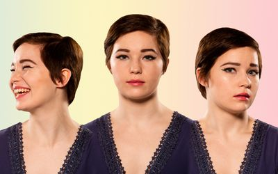 Three photos of the same woman smiling, straight-faced, and looking concerned