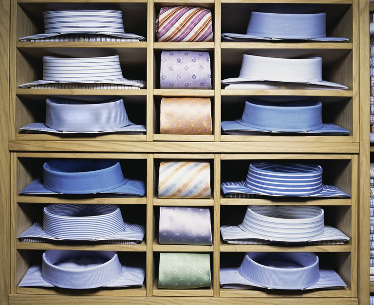 Dress shirts and ties in shelves