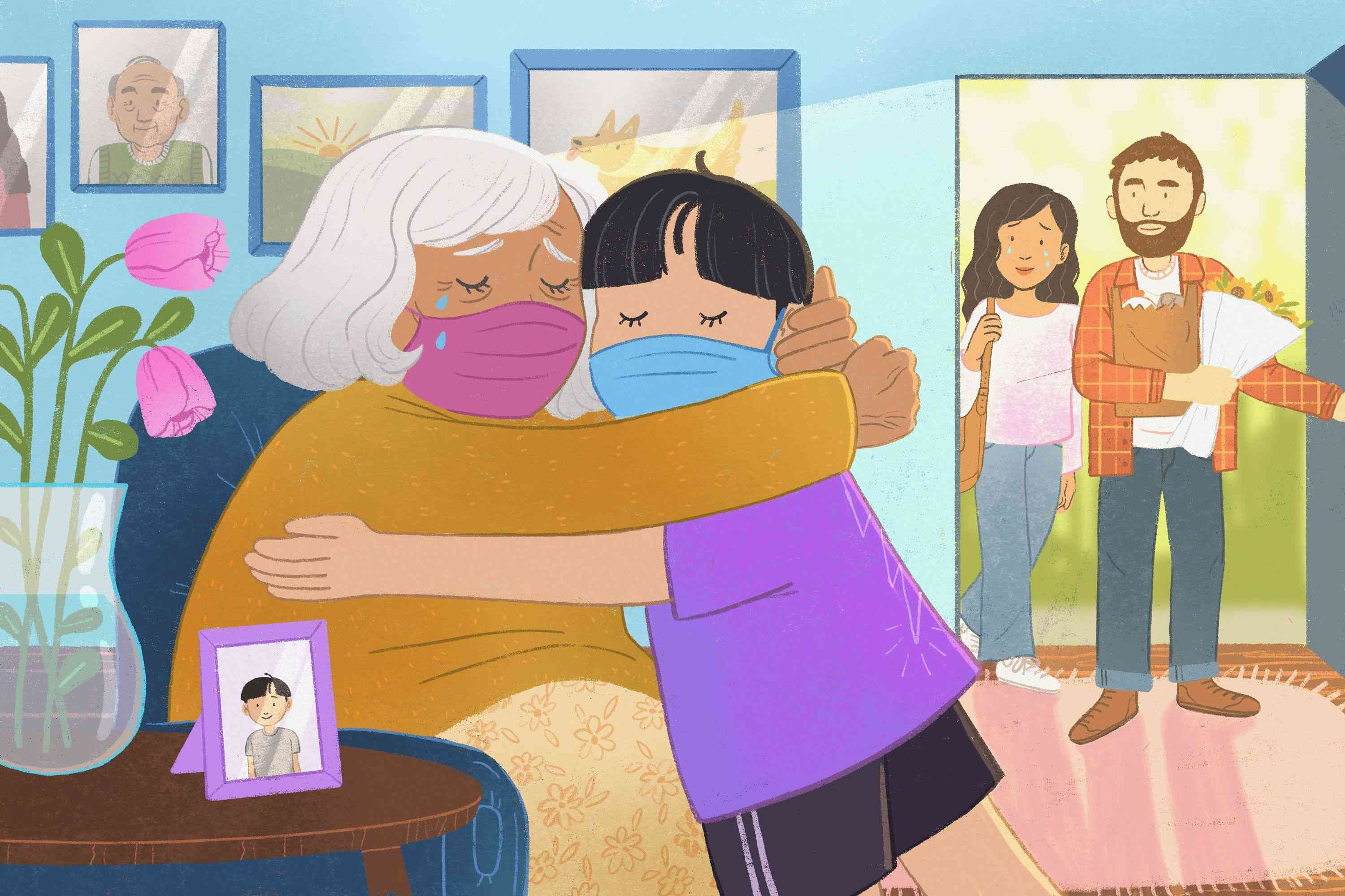 Illustration of child and grandmother hugging while wearing face masks