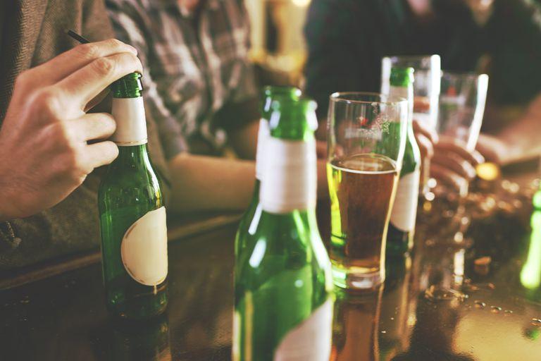Beer bottles at bar