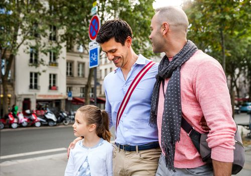 Same sex couple spending with child