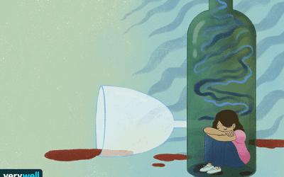 Illustration of a woman sitting inside an empty bottle of wine, depressed