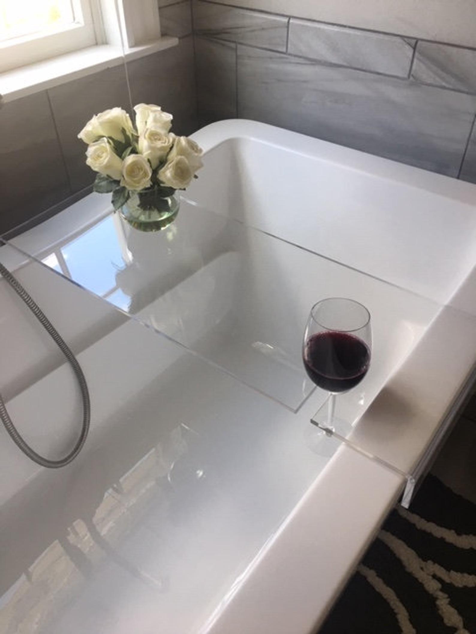 Etsy Wine Cut-Out Acrylic Bathtub Caddy