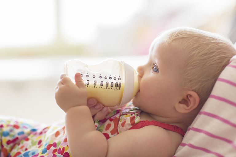 Baby drinking a bottle
