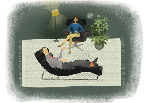Illustration of man lying on couch talking to therapist
