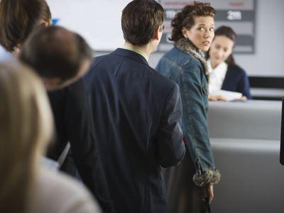 anxious woman at airport