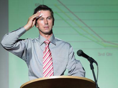 Nervous man giving a speech