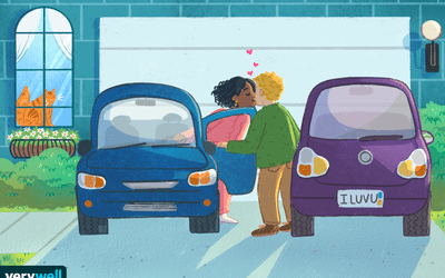couple kissing before going to work