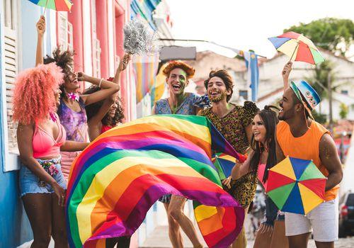 people celebrating LGBTQ+ pride