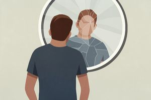 An illustration of a man wearing a dark colored t-shirt looking at his reflection in a shattered mirror.