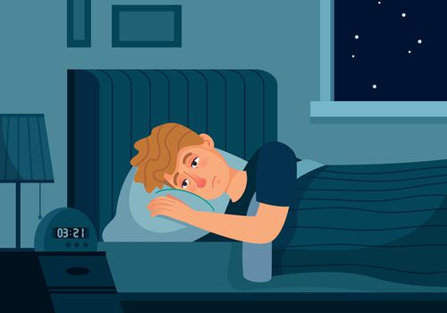 Illustration of man with chronic sleep deprivation lying in bed