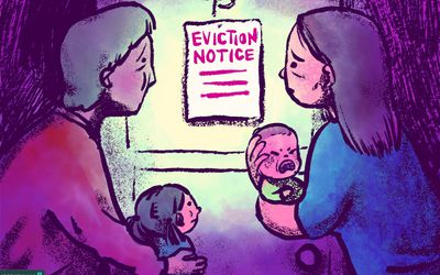 drawing of family looking at eviction notice on their door
