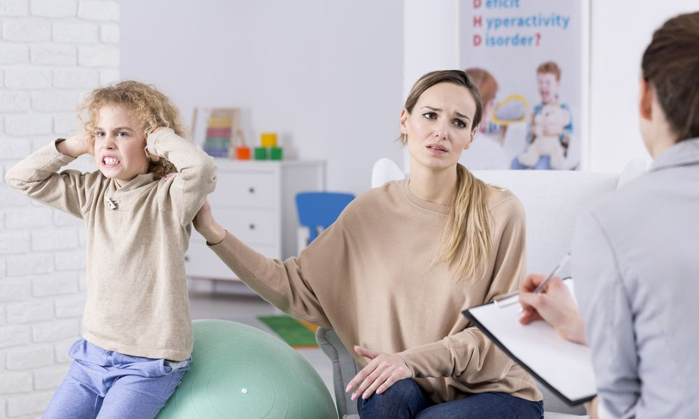 Problem child and desperate mother at psychological center