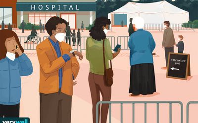 drawing of people waiting in line to get their covid-19 vaccine