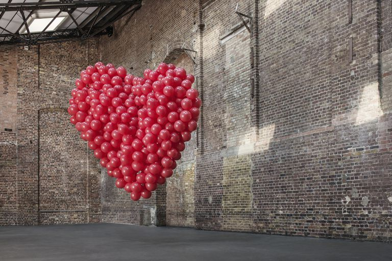 a heart made of balloons