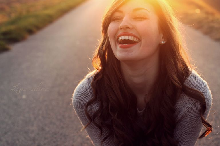 Hapy woman grinning