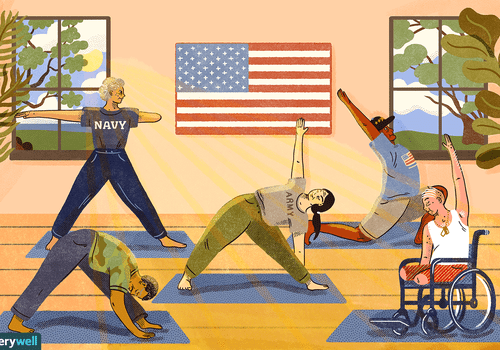 drawing of a group of veterans performing yoga